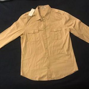 $235 Sandro Button Down Shirt Beige Men's 2XL